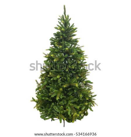 Christmas tree made of plastic on a pedestal not dressed artificial  #534166936