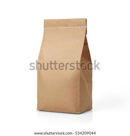 Brown craft paper bag packaging template with stitch sewing isolated on white background. Packaging template mockup collection. With clipping Path included. Stand-up pouch Front view package Royalty-Free Stock Photo #534209044
