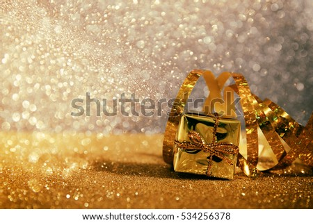 Abstract image of christmas festive decorations with glitter background