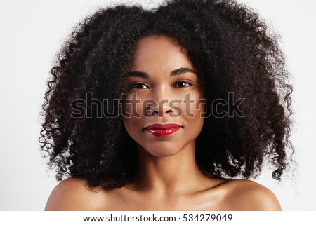 black woman with big afro hair portrait #534279049
