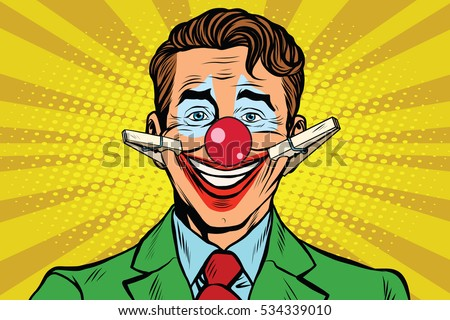 Clown face smile with clothespins, pop art retro  illustration