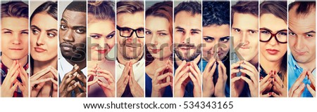 Multiethnic group of sneaky, sly, liar people women and men plotting something. Human emotions, facial expressions, attitude Royalty-Free Stock Photo #534343165