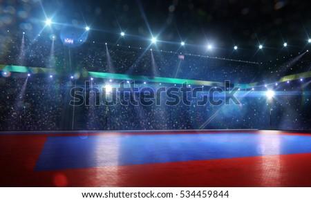 Clean grand combat arena in bright lights