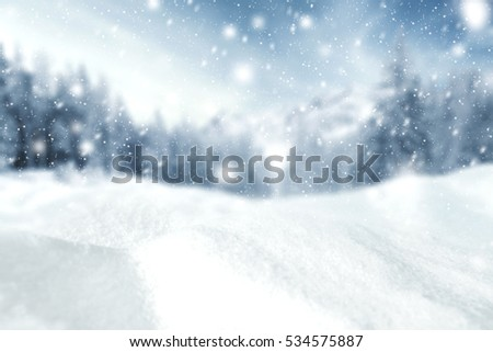 winter background of snow and free space  #534575887