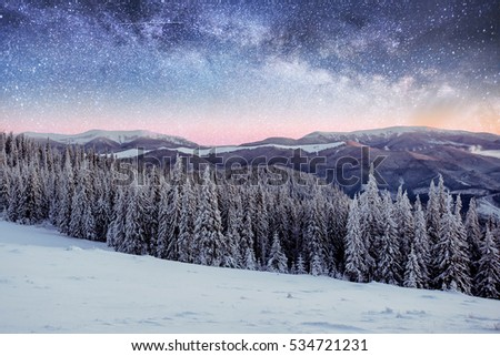 Magical winter landscape with snow covered tree. Vibrant night sky with stars and nebula and galaxy. Deep sky astrophoto. The Milky Way is a fantastic New Year's Eve. #534721231