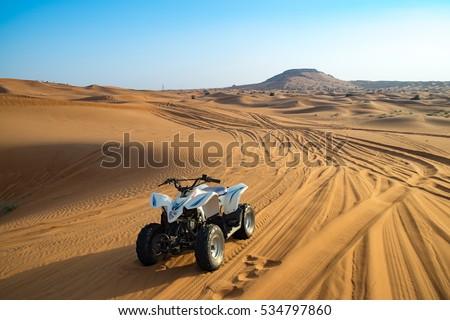 Offroad desert safari in Dubai. (dune bashing). #534797860