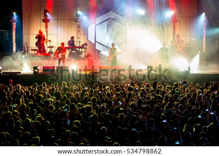 MADRID - SEP 10: The crowd in a concert at Dcode Music Festival on September 10, 2016 in Madrid, Spain. #534798862