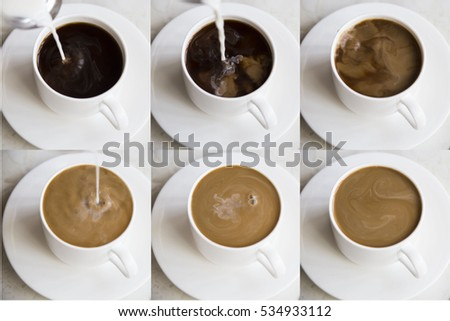 Coffee with cream or milk for breakfast #534933112