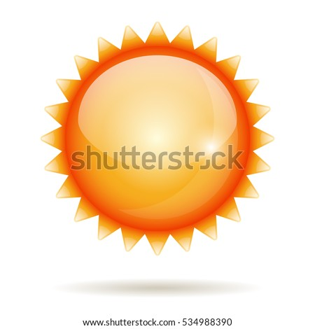 Yellow sun glossy label isolated on white. Raster copy.