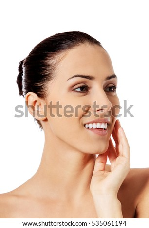 Beautiful face of young woman with clean fresh skin. #535061194