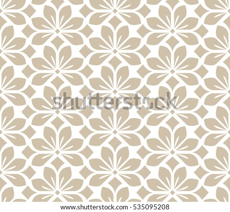 Seamless abstract floral pattern. Beige and white vector background. Geometric leaf ornament. Graphic modern pattern #535095208