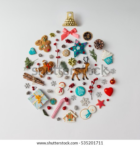 Christmas bauble made of decoration elements. Flat lay. #535201711