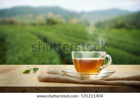 Tea cup with green tea leaf on the wooden table and the tea plantations background #535211404