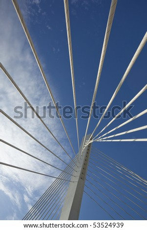 Abstract detail of Millennium bridge, Modern arhitectural construction on river Moraca, Podgorica, Capital city of Montenegro #53524939