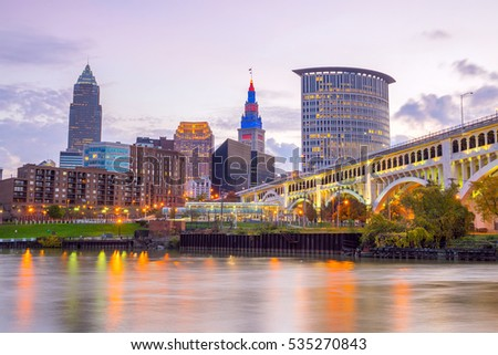 View of downtown Cleveland skyline in Ohio USA at twilight