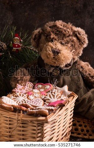 Christmas Cookies in a shape of Snowflake, Heart and Star. Cookie Exchange. Basket with Old-Fashioned Gingerbread Cookies. Perfect for holiday season. Box of Christmas Cookies with Teddy Bear.  #535271746