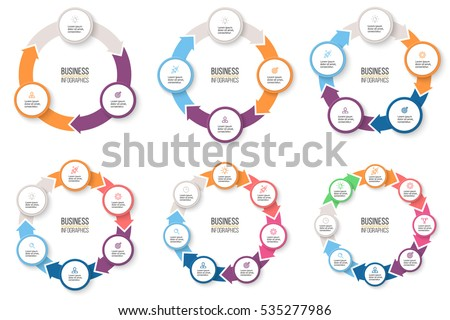 Business infographics. Infographic elements with 3, 4, 5, 6, 7, 8 steps, arrows, circles. Vector pie charts. Royalty-Free Stock Photo #535277986
