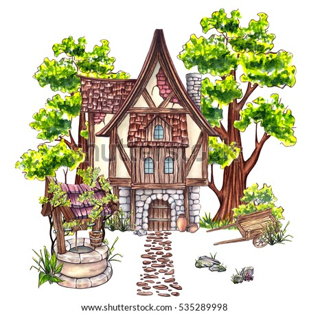 Watercolor environment: house, trees, stones, old cart, old well, grass, in summer season. Cartoon style. Hand painted. Watercolor illustration