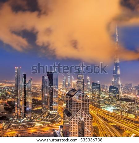 Night cityscape of Dubai with modern futuristic architecture , United Arab Emirates #535336738