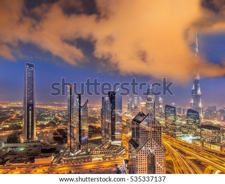 Night cityscape of Dubai with modern futuristic architecture , United Arab Emirates #535337137