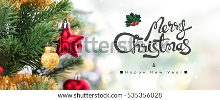 Merry Christmas and Happy New Year, panoramic banner #535356028