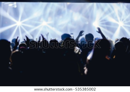 Effects blur Concert disco dj party new year People with hands up having fun #535385002