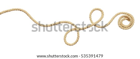 Beige cotton rope curl isolated on white Royalty-Free Stock Photo #535391479