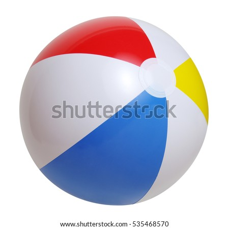 Beach ball isolated on a white background Royalty-Free Stock Photo #535468570