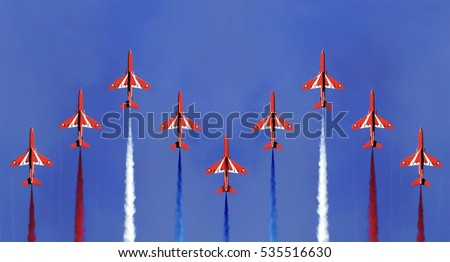 The red arrows display formation Cornwall England with a blue sky background. #535516630