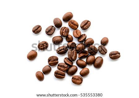 Coffee beans isolated on white background close up #535553380