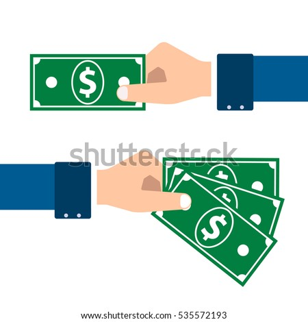 vector hands in the blazers make a purchase or exchange of money #535572193
