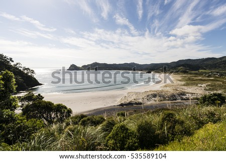 Medlands Beach, Gt Barrier Island, NZ/ one of the beautiful east coast bays on Great Barrier Island, New Zealand  #535589104