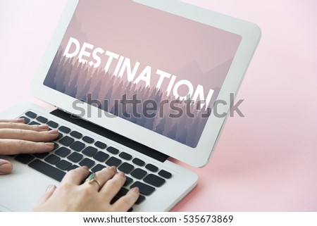 Destination word on nature background with trees #535673869