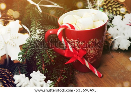 Red mugs with hot chocolate and marshmallows #535690495