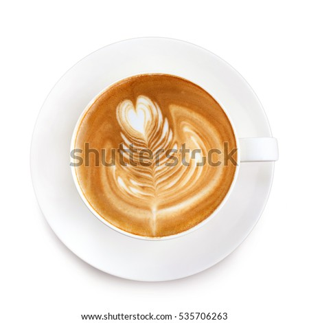 Top view latte art coffee isolate on white background  #535706263