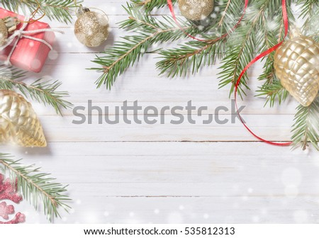 Christmas decoration on white wooden background #535812313