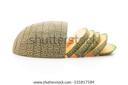 cantaloupe melon on white background #535817584