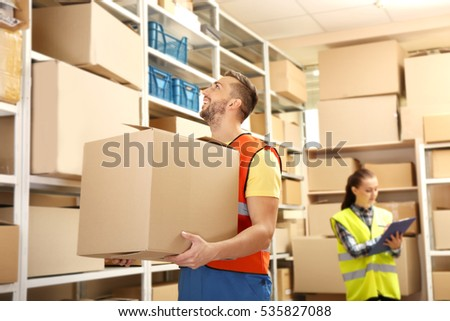 Business people working at warehouse #535827088