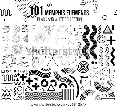Mega set of memphis design elements Royalty-Free Stock Photo #535842577