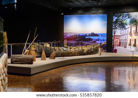 MEXICO CITY, MEX - OCT 27, 2016: Exponates of the National Museum of Anthropology (Museo Nacional de Antropologia, MNA), the largest and most visited museum in Mexico #535857820