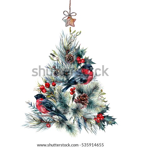 Watercolor Christmas Tree Made of Coniferous Branches, Pine Cones, Hawthorn, Holly Berry and Mistletoe, Bullfinches and Wooden Star Pendant. Holiday Decoration Print Design Template. Vintage Style.