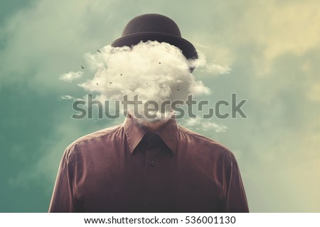 head in the clouds minimalist concept Royalty-Free Stock Photo #536001130