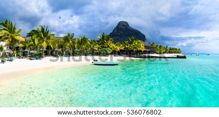 Tropical scenery - beautiful beaches of Mauritius island, Le Morne  #536076802