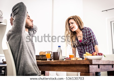 Couple fight hard in the morning Royalty-Free Stock Photo #536130703