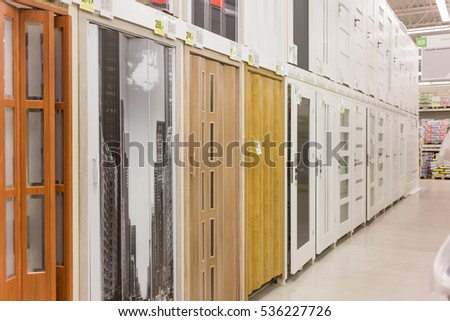 WARSAW, POLAND -DECEMBER 10, 2016: Aisle with goods in the castorama hardware store in the center of the city. #536227726