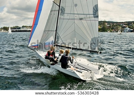 High School Sailing Championships at Belmont, Lake Macquarie, New South Wales, Australia.