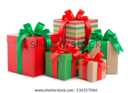 green and red gift box with a ribbon and a bow isolated. Royalty-Free Stock Photo #536317066