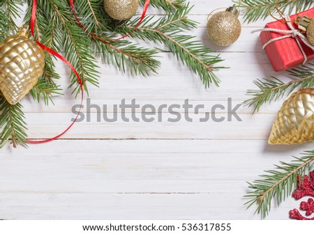 Christmas decoration on white wooden background #536317855