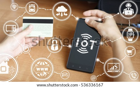 Internet of things (IoT) business mobile smart phone devices tech concept. Intelligent wifi house digital home technology #536336167