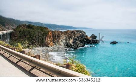 A Beautiful View of the California Coastline along State Road 1 -USA #536345212